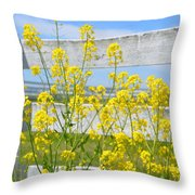 Yellow Flowers And A White Fence Throw Pillow
