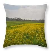 Yellow Flowers In A Field Throw Pillow