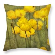Yellow Flowers With Texture Throw Pillow