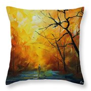 Yellow Fog 2 - Palette Knife Oil Painting On Canvas By Leonid Afremov Throw Pillow