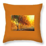 Yellow Fog - Palette Knife Oil Painting On Canvas By Leonid Afremov Throw Pillow