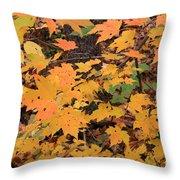 Yellow Foliage Throw Pillow