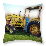 Yellow Ford Tractor Throw Pillow