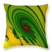 Yellow Fractal Throw Pillow