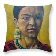 Yellow Frida Throw Pillow