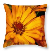 Yellow Gold Flowers Throw Pillow