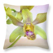 Yellow-green Orchid Throw Pillow