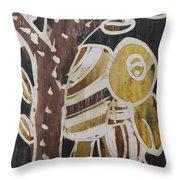 Yellow Head Brown Owl Bird On The Tree Throw Pillow