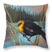 Yellow Headed Black Bird Throw Pillow