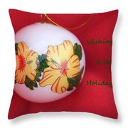 Yellow Hibiscus Christmas Bulb Throw Pillow