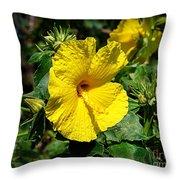 Yellow Hibiscus Hawaii State Flower Throw Pillow