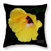 Yellow Hibiscus In The Rain Throw Pillow