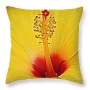 Yellow Hibiscus Up Close Throw Pillow