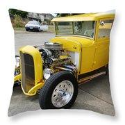 Yellow Hot Rod Throw Pillow