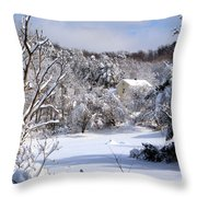 Yellow House In Winter Throw Pillow