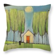 Yellow House In Woods Throw Pillow