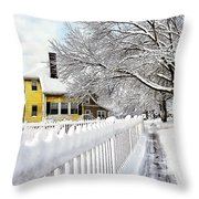 Yellow House With Snow Covered Picket Fence Throw Pillow