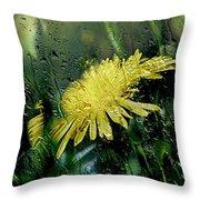 Yellow In The Rain Throw Pillow