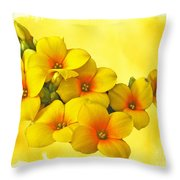 Yellow Kalanchoe - Succulent Sunshine Throw Pillow