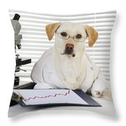 Yellow Lab In Lab Coat Throw Pillow