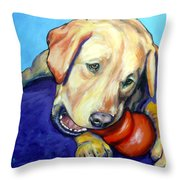 Yellow Lab With Kong Throw Pillow