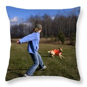 Yellow Labrador And Girl Throw Pillow by Linda Freshwaters Arndt
