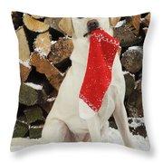 Yellow Labrador With Stocking Throw Pillow