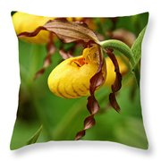 Yellow Lady Slipper Throw Pillow