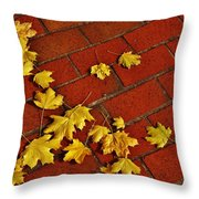 Yellow Leaves On Red Brick Throw Pillow