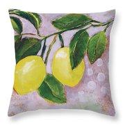 Yellow Lemons On Purple Orchid Throw Pillow by Jen Norton