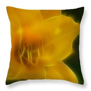 Yellow Lily 6069-fractal Throw Pillow