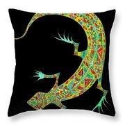 Yellow Lizard On Black Throw Pillow