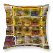 Yellow Lobster Traps In Maine Throw Pillow