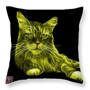 Yellow Maine Coon Cat - 3926 - Bb Throw Pillow