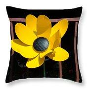 Yellow Metal Garden Flower Throw Pillow