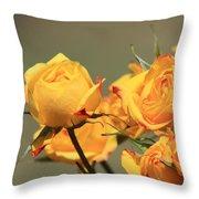 Yellow Mini Rose's Closeup Throw Pillow