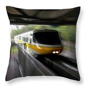 Yellow Monorail Entering The Station 02 Throw Pillow