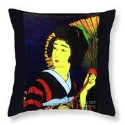 Yellow Moon Geisha Throw Pillow