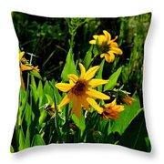 Yellow Mountain Flowers Throw Pillow
