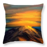 Yellow Mountaintop Hugged By Yellow Cloud  Throw Pillow