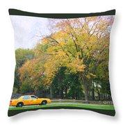 Yellow Nyc Taxi Driving Through Central Park Usa Throw Pillow
