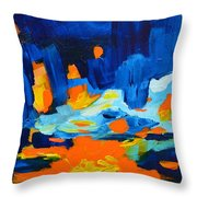 Yellow Orange Blue Sunset Landscape Throw Pillow