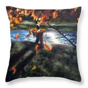 Yellow Orange Leaves Throw Pillow