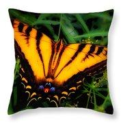 Yellow Orange Tiger Swallowtail Butterfly Throw Pillow