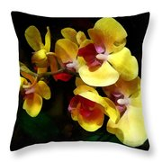 Yellow Orchids Shadow And Light Throw Pillow