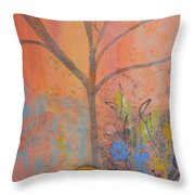 Yellow Peace Bird On Orange Throw Pillow