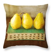 Yellow Pears And Vintage Green Book Still Life Throw Pillow