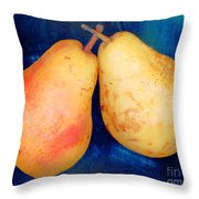 Yellow Pears On Blue Number Two Throw Pillow