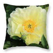 Yellow Peony Throw Pillow