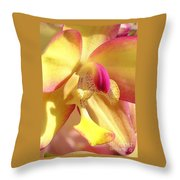 Yellow Pink Orchid Throw Pillow